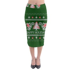 Motorcycle Santa Happy Holidays Ugly Christmas Green Background Midi Pencil Skirt by Onesevenart