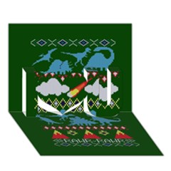 My Grandma Likes Dinosaurs Ugly Holiday Christmas Green Background I Love You 3d Greeting Card (7x5)