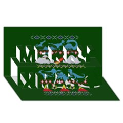My Grandma Likes Dinosaurs Ugly Holiday Christmas Green Background Merry Xmas 3d Greeting Card (8x4) by Onesevenart