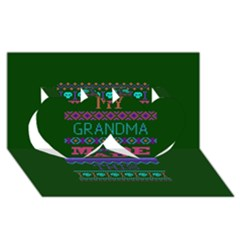 My Grandma Made This Ugly Holiday Green Background Twin Hearts 3d Greeting Card (8x4) by Onesevenart