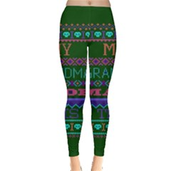 My Grandma Made This Ugly Holiday Green Background Leggings  by Onesevenart