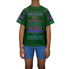 My Grandma Made This Ugly Holiday Green Background Kids  Short Sleeve Swimwear by Onesevenart