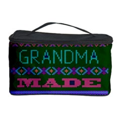My Grandma Made This Ugly Holiday Green Background Cosmetic Storage Case by Onesevenart