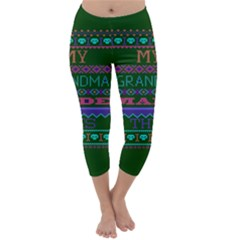 My Grandma Made This Ugly Holiday Green Background Capri Winter Leggings  by Onesevenart