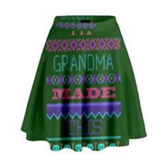 My Grandma Made This Ugly Holiday Green Background High Waist Skirt by Onesevenart