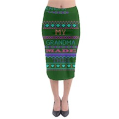 My Grandma Made This Ugly Holiday Green Background Midi Pencil Skirt by Onesevenart