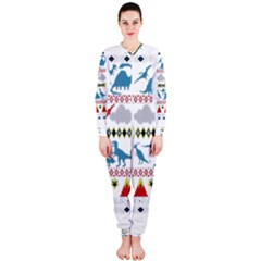 My Grandma Likes Dinosaurs Ugly Holiday Christmas Onepiece Jumpsuit (ladies)  by Onesevenart