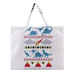 My Grandma Likes Dinosaurs Ugly Holiday Christmas Zipper Large Tote Bag by Onesevenart