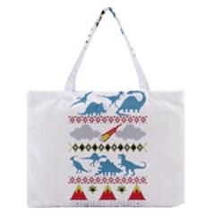 My Grandma Likes Dinosaurs Ugly Holiday Christmas Medium Zipper Tote Bag by Onesevenart