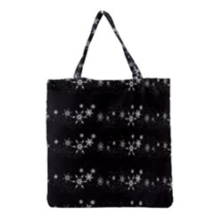 Black Elegant  Xmas Design Grocery Tote Bag by Valentinaart