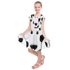 Dalmation cartoon head Kids  Short Sleeve Dress by TailWags