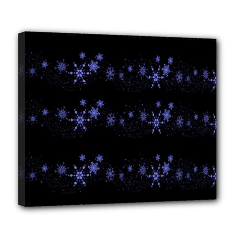 Xmas Elegant Blue Snowflakes Deluxe Canvas 24  X 20   by Valentinaart