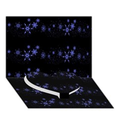 Xmas Elegant Blue Snowflakes Heart Bottom 3d Greeting Card (7x5) by Valentinaart