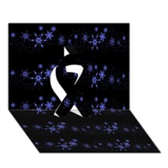 Xmas Elegant Blue Snowflakes Ribbon 3d Greeting Card (7x5) by Valentinaart