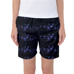 Xmas Elegant Blue Snowflakes Women s Basketball Shorts by Valentinaart