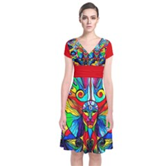 Human Self Awareness - Short Sleeve Front Wrap Dress by tealswan