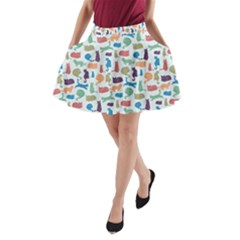Blue Colorful Cats Silhouettes Pattern A Line Pocket Skirt