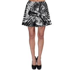 Black And White Passion Flower Passiflora  Skater Skirt by yoursparklingshop