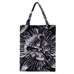 Black And White Passion Flower Passiflora  Classic Tote Bag by yoursparklingshop