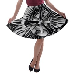Black And White Passion Flower Passiflora  A Line Skater Skirt by yoursparklingshop