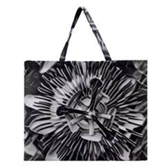 Black And White Passion Flower Passiflora  Zipper Large Tote Bag by yoursparklingshop