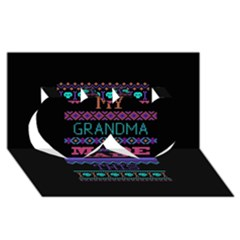 My Grandma Made This Ugly Holiday Black Background Twin Hearts 3d Greeting Card (8x4) by Onesevenart