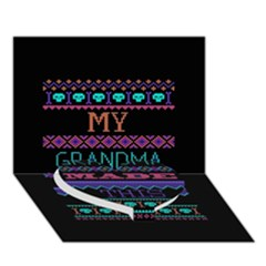 My Grandma Made This Ugly Holiday Black Background Heart Bottom 3d Greeting Card (7x5) by Onesevenart