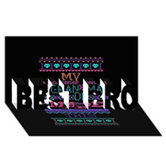 My Grandma Made This Ugly Holiday Black Background Best Bro 3d Greeting Card (8x4) by Onesevenart
