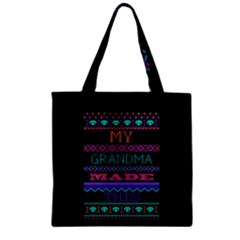 My Grandma Made This Ugly Holiday Black Background Zipper Grocery Tote Bag by Onesevenart