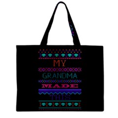My Grandma Made This Ugly Holiday Black Background Zipper Mini Tote Bag by Onesevenart
