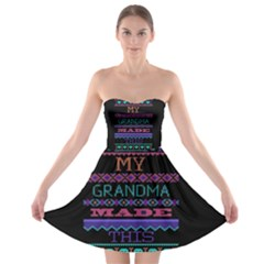 My Grandma Made This Ugly Holiday Black Background Strapless Bra Top Dress by Onesevenart