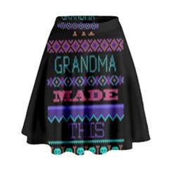 My Grandma Made This Ugly Holiday Black Background High Waist Skirt by Onesevenart
