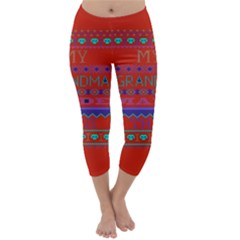 My Grandma Made This Ugly Holiday Red Background Capri Winter Leggings  by Onesevenart