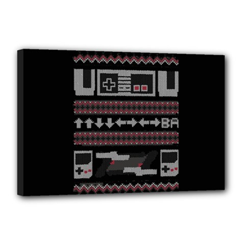 Old School Ugly Holiday Christmas Black Background Canvas 18  X 12  by Onesevenart