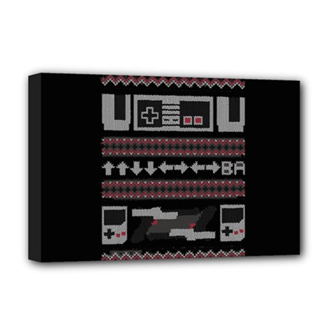 Old School Ugly Holiday Christmas Black Background Deluxe Canvas 18  X 12   by Onesevenart