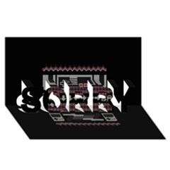 Old School Ugly Holiday Christmas Black Background Sorry 3d Greeting Card (8x4) by Onesevenart