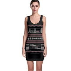 Old School Ugly Holiday Christmas Black Background Sleeveless Bodycon Dress by Onesevenart