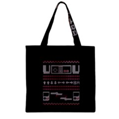 Old School Ugly Holiday Christmas Black Background Zipper Grocery Tote Bag by Onesevenart