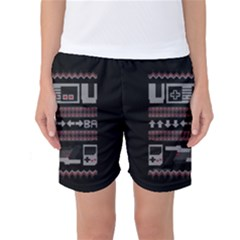 Old School Ugly Holiday Christmas Black Background Women s Basketball Shorts by Onesevenart