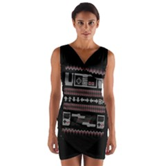 Old School Ugly Holiday Christmas Black Background Wrap Front Bodycon Dress by Onesevenart