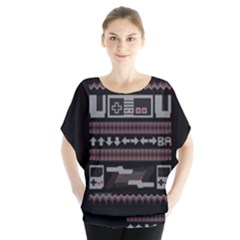 Old School Ugly Holiday Christmas Black Background Blouse by Onesevenart
