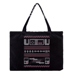 Old School Ugly Holiday Christmas Black Background Medium Tote Bag by Onesevenart