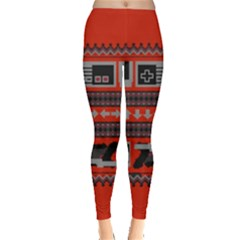 Old School Ugly Holiday Christmas Red Background Leggings  by Onesevenart