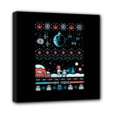 That Snow Moon Star Wars  Ugly Holiday Christmas Black Background Mini Canvas 8  X 8  by Onesevenart