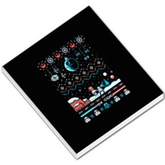 That Snow Moon Star Wars  Ugly Holiday Christmas Black Background Small Memo Pads by Onesevenart