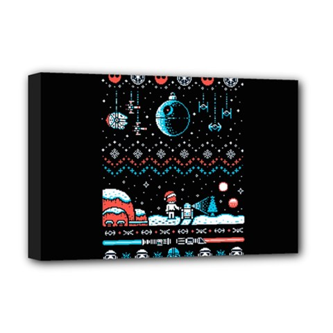 That Snow Moon Star Wars  Ugly Holiday Christmas Black Background Deluxe Canvas 18  X 12   by Onesevenart