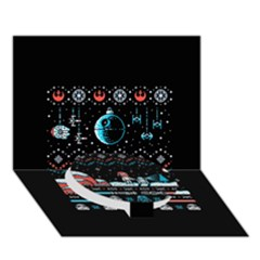 That Snow Moon Star Wars  Ugly Holiday Christmas Black Background Circle Bottom 3d Greeting Card (7x5) by Onesevenart