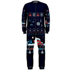 That Snow Moon Star Wars  Ugly Holiday Christmas Blue Background Onepiece Jumpsuit (men)  by Onesevenart