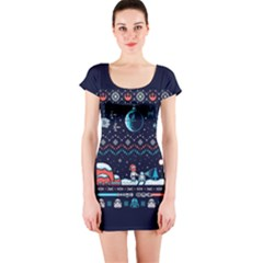 That Snow Moon Star Wars  Ugly Holiday Christmas Blue Background Short Sleeve Bodycon Dress by Onesevenart