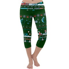 That Snow Moon Star Wars  Ugly Holiday Christmas Green Background Capri Yoga Leggings by Onesevenart